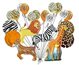 20 pc Realistic Safari Balloon Bouquet Happy Birthday Animal Giraffe Zebra Tiger