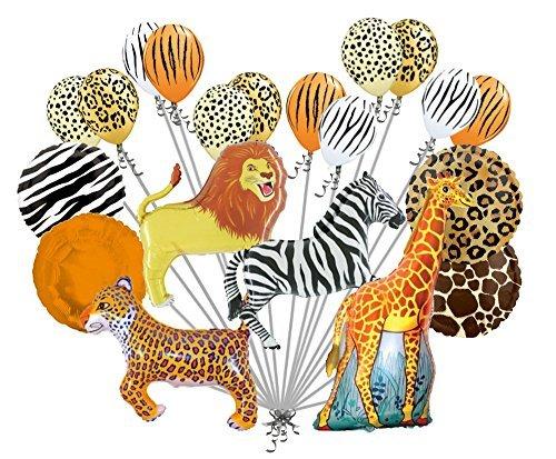 20 pc Realistic Safari Balloon Bouquet Happy Birthday Animal Giraffe Zebra Tiger by Jeckaroonie Balloons