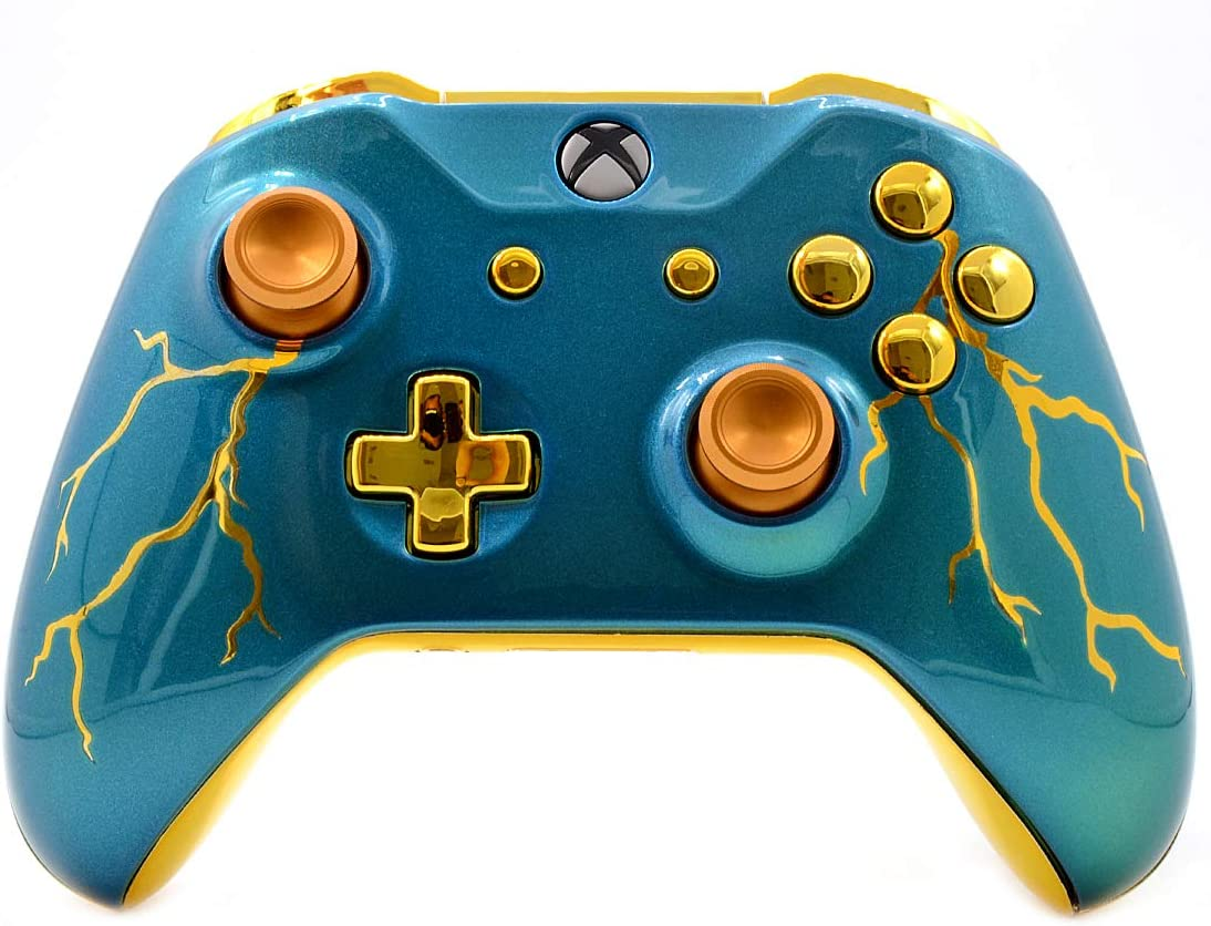 Blue Thunder Rapid Fire Custom Modded Controller Compatible with Xbox One S/X 40 Mods for All Major Shooter Games WW2 (with 3.5 Jack)