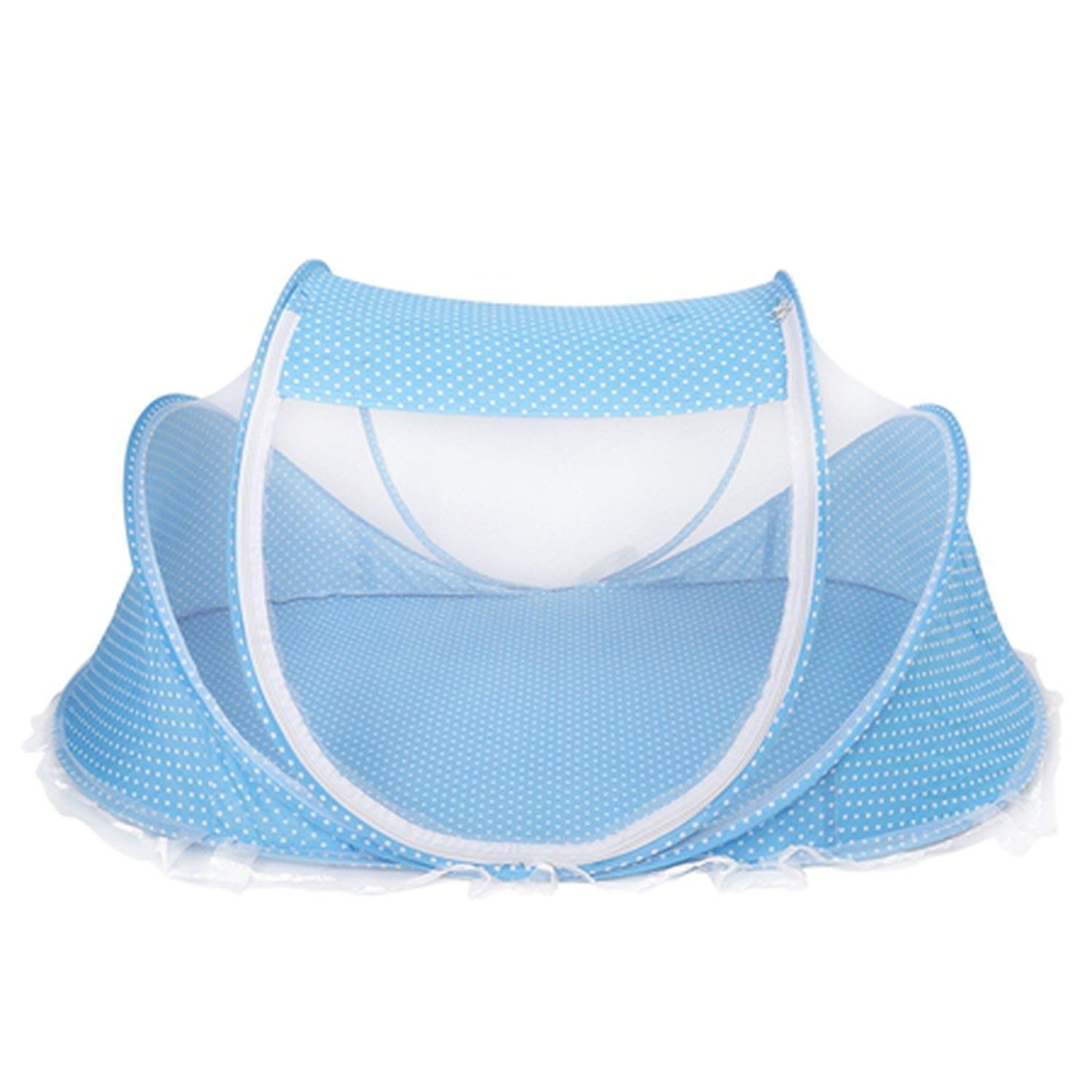 Foldable Mosquito Net Anti Bug Klamboe Crib Cradle Tent for Baby Infant Mosquiteiros para Camas,Blue,110X65X60Cm