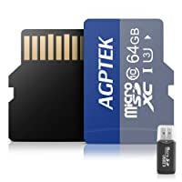 AGPTEK 64GB Micro SD Card with Card Reader SD Adapter USB Devices Class 10,Compatible Mp3