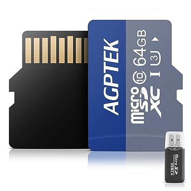 AGPTEK Tarjeta de Memoria Micro SD DE 64 GB con Lector de Tarjetas, UHS-III U3, 100 MB/s, Clase 10
