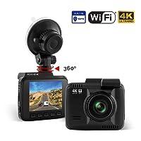"Rove R2-4K Car Dash Cam - 4K Ultra HD 2160P Dash Board Camera, 2.4"" LCD, Super Night Vision, Built In WiFi & GPS, 150 Wide Angle, G-Sensor, Loop Recording, ROVE 2-Port USB Fast Car Charger"