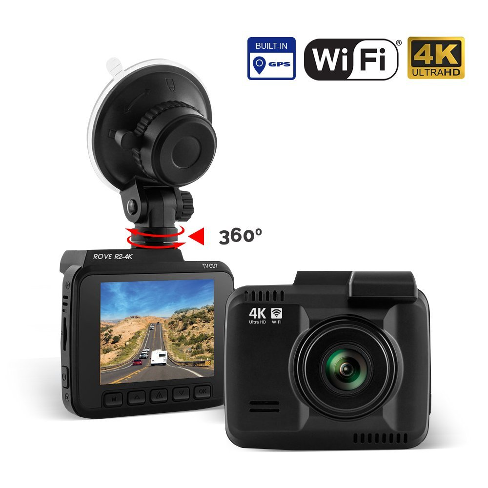 Dash Cam :: Rove R2-4K UltraHD 2160P + 2.4'' LCD 150° Wide Angle with Super Night Vision :: Car DashBoard Camera Built In WiFi & GPS