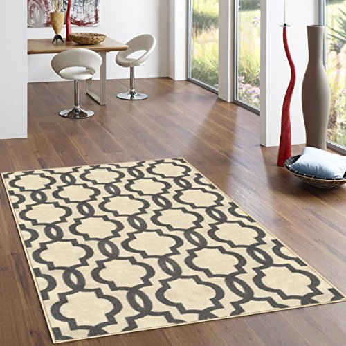 "Kapaqua Rubber Backed 5' x 6'7"" Fancy Moroccan Trellis Ivory & Grey Area Non-Slip Rug - Rana Collection Kitchen Dining Living Hallway Bathroom Pet Entry Rugs RAN204CRM-57"