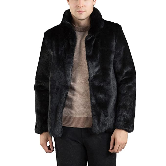 YanHoo Chaqueta Hombre Invierno Moda para Hombre Abrigo cálido Abrigo Grueso Chaqueta de Piel sintética Parka Outwear Cardigan Abrigo de Piel sintética de ...