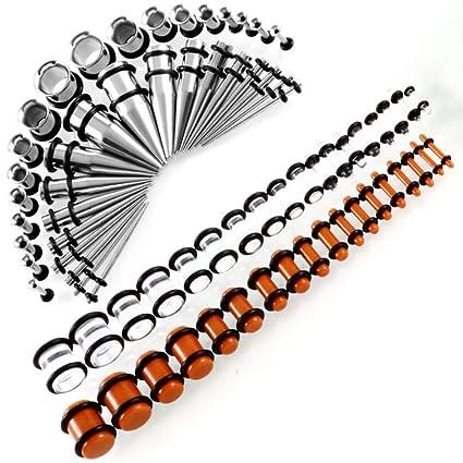 Body Piercing Dilatación Túnel Dilatadores, Acero Quirúrgico Piercing Oreja Tapones De Oreja, 72Pcs Expansor