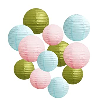 Amazoncom 12 Pack Mixed Sizes 8 12 Baby Blue Pink Gold Paper