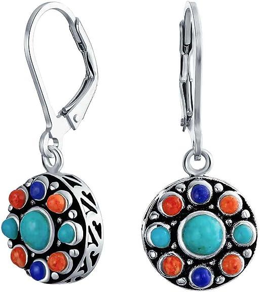 Gemstone Earrings Sterling Silver Leverbacks Gift Ideas Christmas Gift. Free Shipping-Lapis Cluster Dangle Earrings For Her