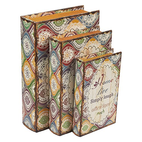 3 Piece Book Box Set – Decorative Book Storage Box Money, Jewelry, Family Quotes Design, 3 Different Sizes, 8, 10, 12 inches Review