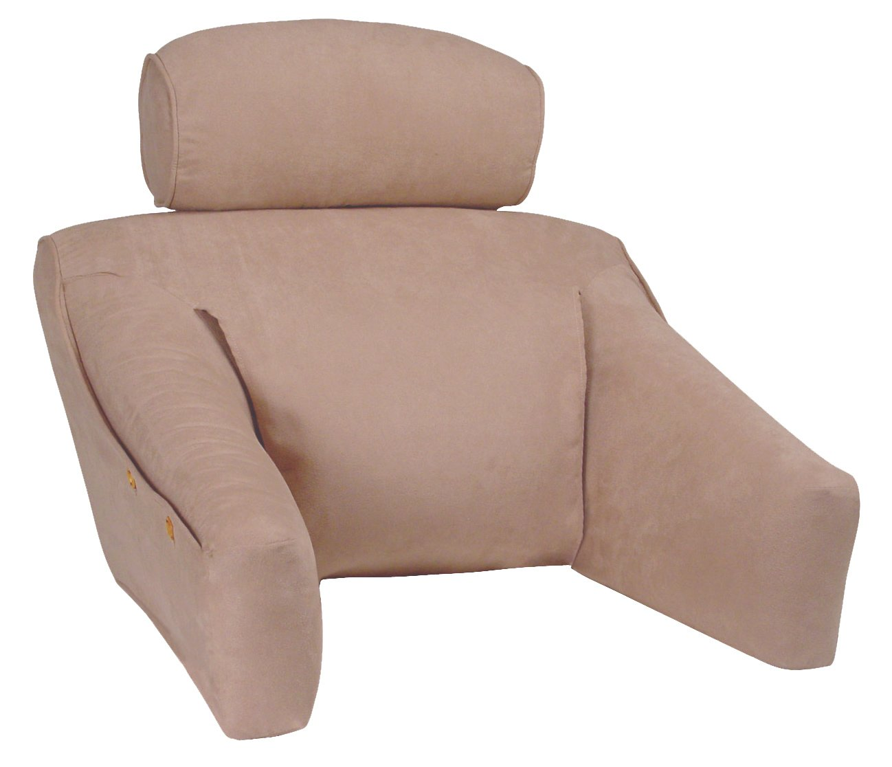 Warm Taupe Premium MicroSuede Bedlounge Reading Pillow - Reading in Bed, for Deep Couches, Watching TV and Reading to Children. REGULAR SIZE