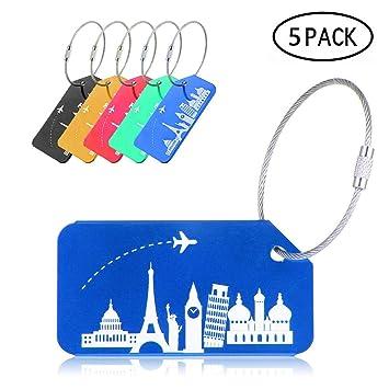 Etiquetas de Equipaje de Aluminio, Paquete de 5 Etiquetas de identificación de Viaje con Cable