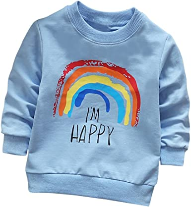 Toddler Kids Baby Boy Girl Rainbow//Letter Pullover Sweatshirt Long Sleeve Tops Cotton Shirt Fall Winter Clothes