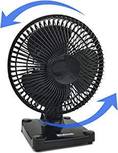 Uninex EK800BKFNSKU Patented Oval Oscillating Table Fan, 2-Speed, Ultra Quiet, Compact, ETL Listed, 8-Inch, No Logo, Black