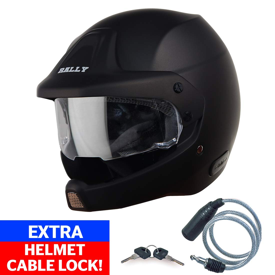 Steelbird Open Face Helmet with Extra Cable Lock