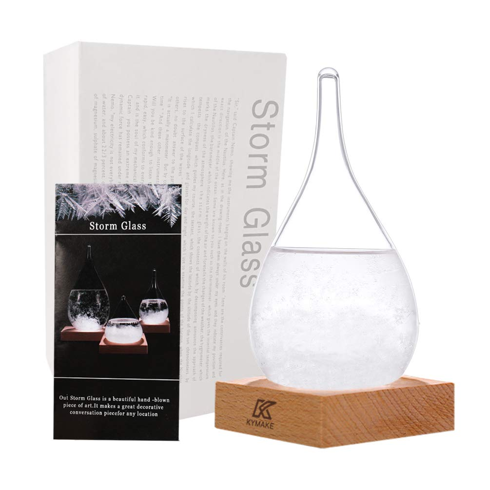 KYMAKE Storm Glass Weather Predictor - Creative Crystal Glass Bottle Desktop Drops Craft Weather Station with Pure Wood Base - High-Class Decoration on Home & Office (Small-612)