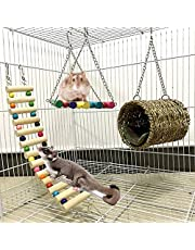 Leeko Hamster Hanging Toy, 5 Pack Natural Wooden Ladder Toy Accessories, Tunnel Bed with A Cotton Pad, Teeth Care Molar Toy for Rabbits Rat Guinea Pig and Chinchilla Hamster Mice Parrots Play Toy