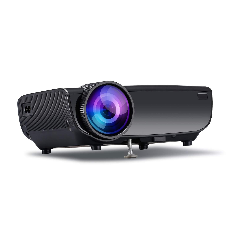 LVESHOP ミニプロジェクター、同期式スマートフォン画面付きプロジェクター、1080P対応、Fire TVスティック/ HDMI / VGA / USB / TV /ボックス/ノートパソコンに対応 ( Color : Black ) B07QLRCHGB