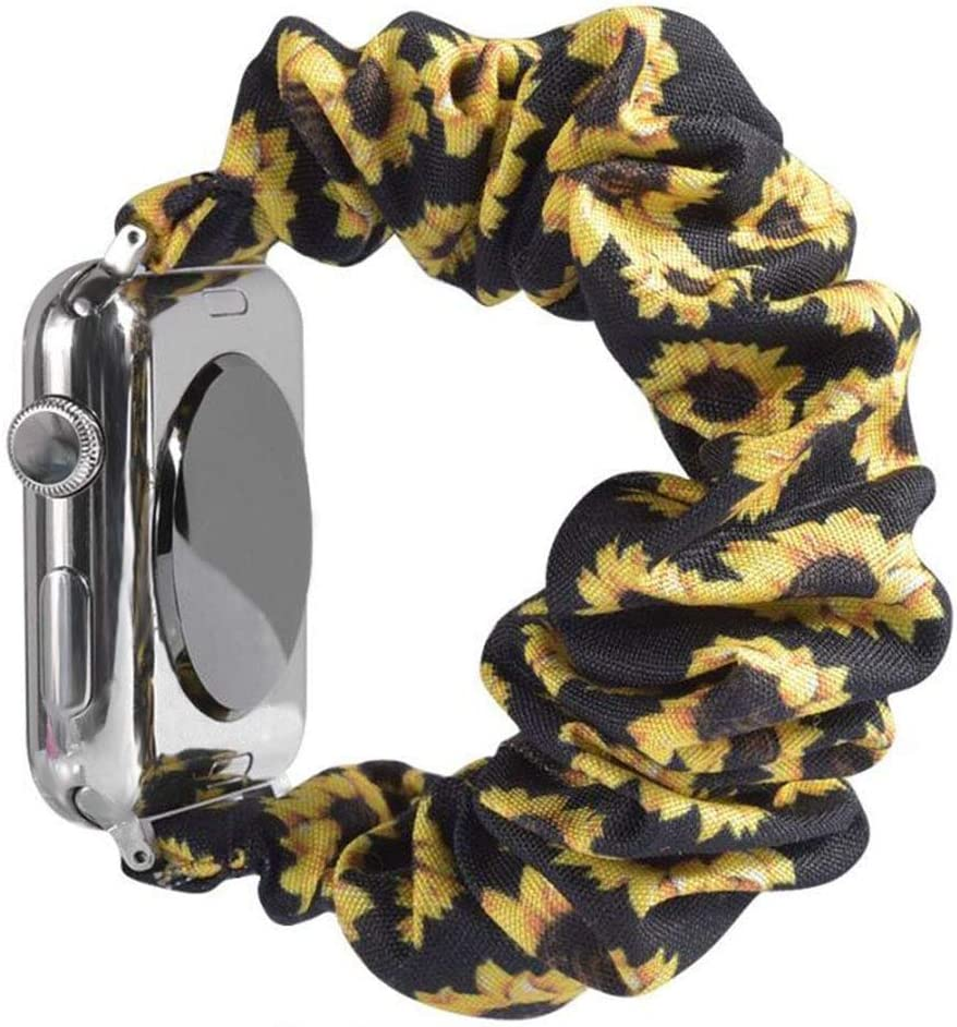 Miimall Compatible with Apple Watch Scrunchie Band 38mm 40mm, Soft Pattern Printed Fabric Scrunchy Strap Replacement Bands for Apple Watch SE Series 6/5/4/3/2/1(Sunflower Yellow)