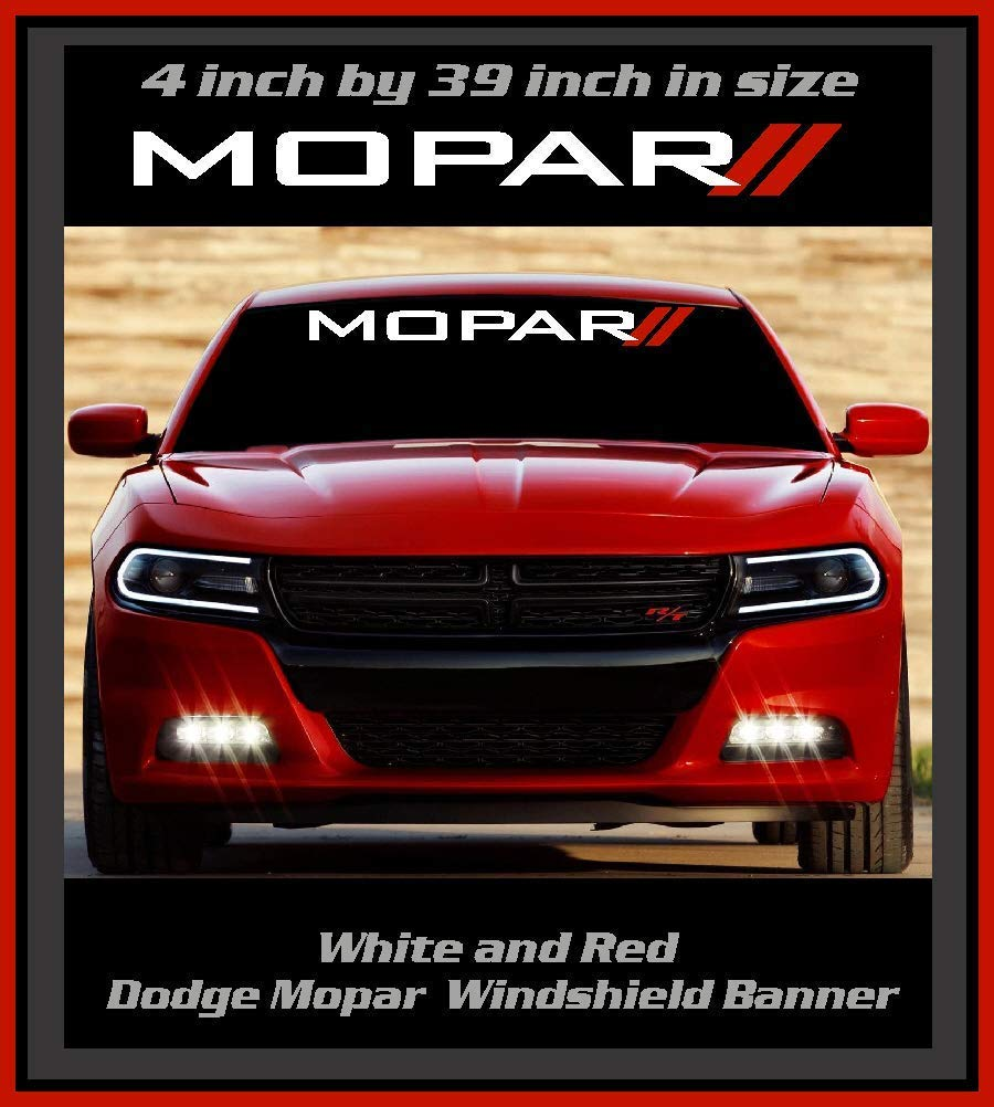 Emblem Window Decal 6 to 8 Year Outdoor Life 4 inch by 39 inch Color White and Red Dodge Mopar Stripe Windshield Banner Decal Graphic Sticker