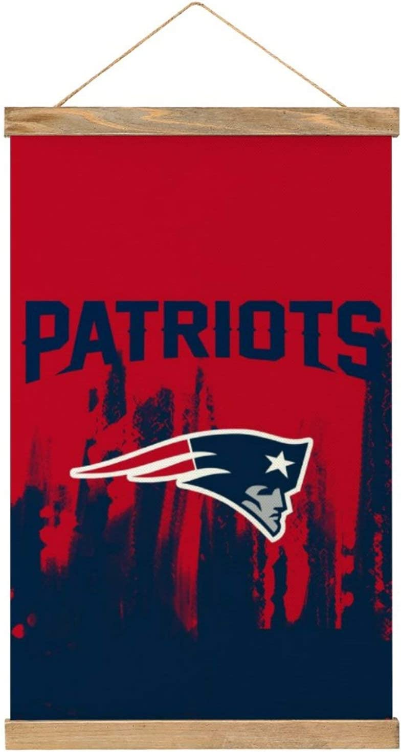 """MAATUD New England Football Patriot Wooden Poster Frame Canvas Hangs a Picture Pop Art Prints Dorm Room Decor, Vintage Themed Home, Office, Apartment Poster Wall Decoration 20"""" x 13"""""""