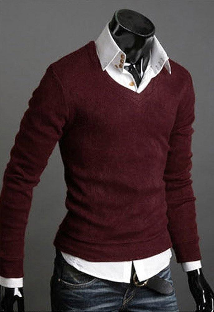 Keral New Men Sweater Jumper Tops Cardigan Premium Stylish Slim Fit V-neck Sweater WineRed XL