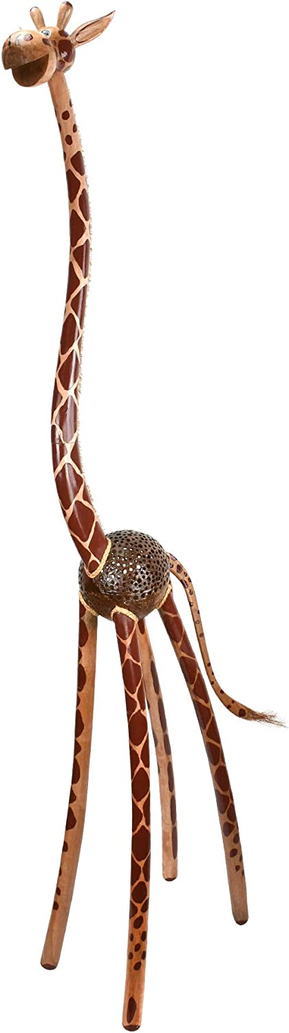 AeraVida Standing Extra Tall Wooden 5ft Giraffe and Coconut Shell Figurine or Sculpture