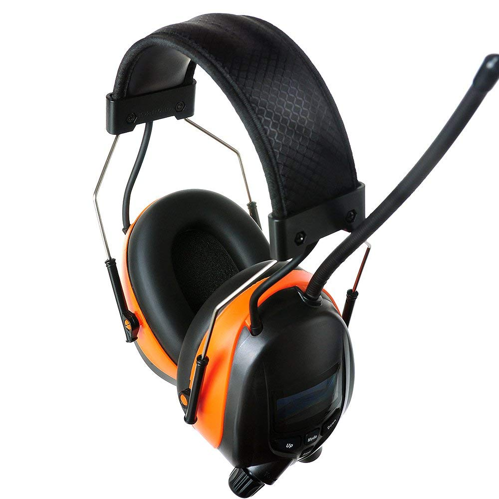 PROTEAR Bluetooth AM FM Radio Noise Reduction Safety Ear Muffs with Rechargeable Lithium Battery - Adjustable NRR 25dB Electronic Ear Hearing Protection lawn mower work headphones,with a Earmuff Clip by PROTEAR (Image #5)