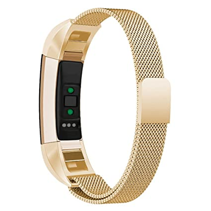 Rose Gold Milanese Loop Stainless Steel Metal Magnetic Replacement Accessories Bracelet Wristbands Small Large for Women Men Champagne ALTA-SILVER Silver Konikit Bands Compatible Fitbit Alta//Alta HR//Ace