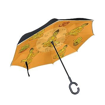MUMIMI Buddah Mandala Meditación Chakra Ohm Reverso Paraguas Inverso Doble Capa Resistente al Viento UV Protección