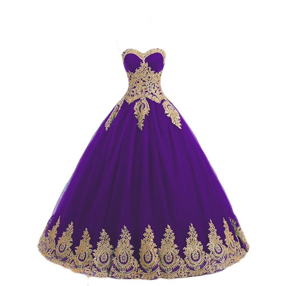 GURNALL Sweetheart Sweet 16 Dress Gold Lace Appliques Ball Gown Quinceanera Dresses Purple Size 14