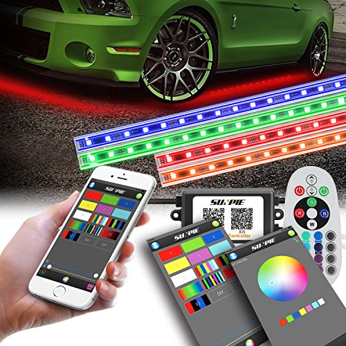 LED Underglow Lighting Kit, Underbody light kit, Under Car Lighting Kit, Multi-Color RGB Strips with Bluetooth&Remote&Aluminum Case