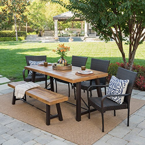 Great Deal Furniture Salla Outdoor 6 Piece Teak Finished Acacia Wood Dining Set with Multibrown Wicker Stacking Chairs (Furniture Wood And Wicker)