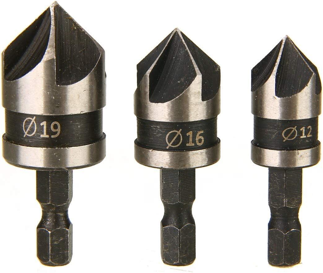 Rolldaso 3Pcs 90 Degree 1//4 Hex Shank Countersink Drill Bit For Wood Metal Drilling Tools Wood Drill Bits 12//16//19mm