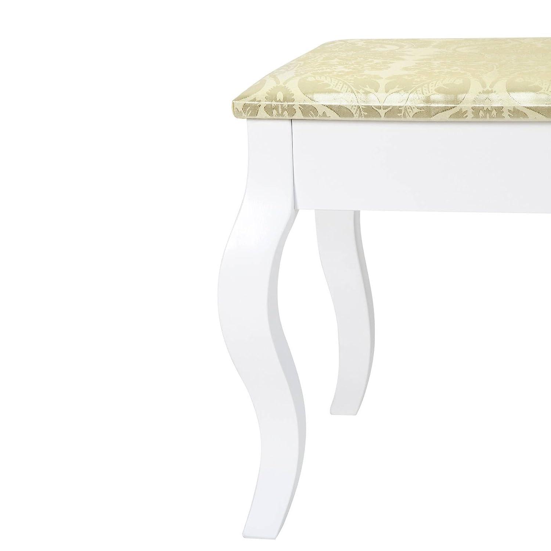 Miamodo Banc Capitonn/é Blanc avec des Motifs de Fleurs Dor/ées en Bois Tabouret de Maquillage Coiffeuse Chaise Banquette Rembourr/ée 104x42x46 cm 100/% Polyester