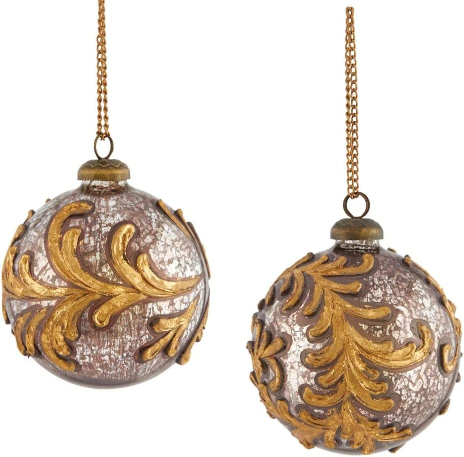 Napa Home & Garden Cathedral Gilded Scroll 4-inch Glass Ball Ornaments, Set of 2
