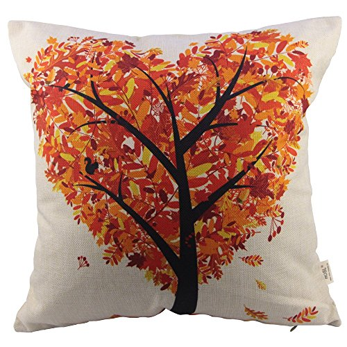 HOSL Orange Heart Shape Tree Square Decorative Throw Pillow Case Cushion Cover 17.317.3 Inch (44CM44CM)