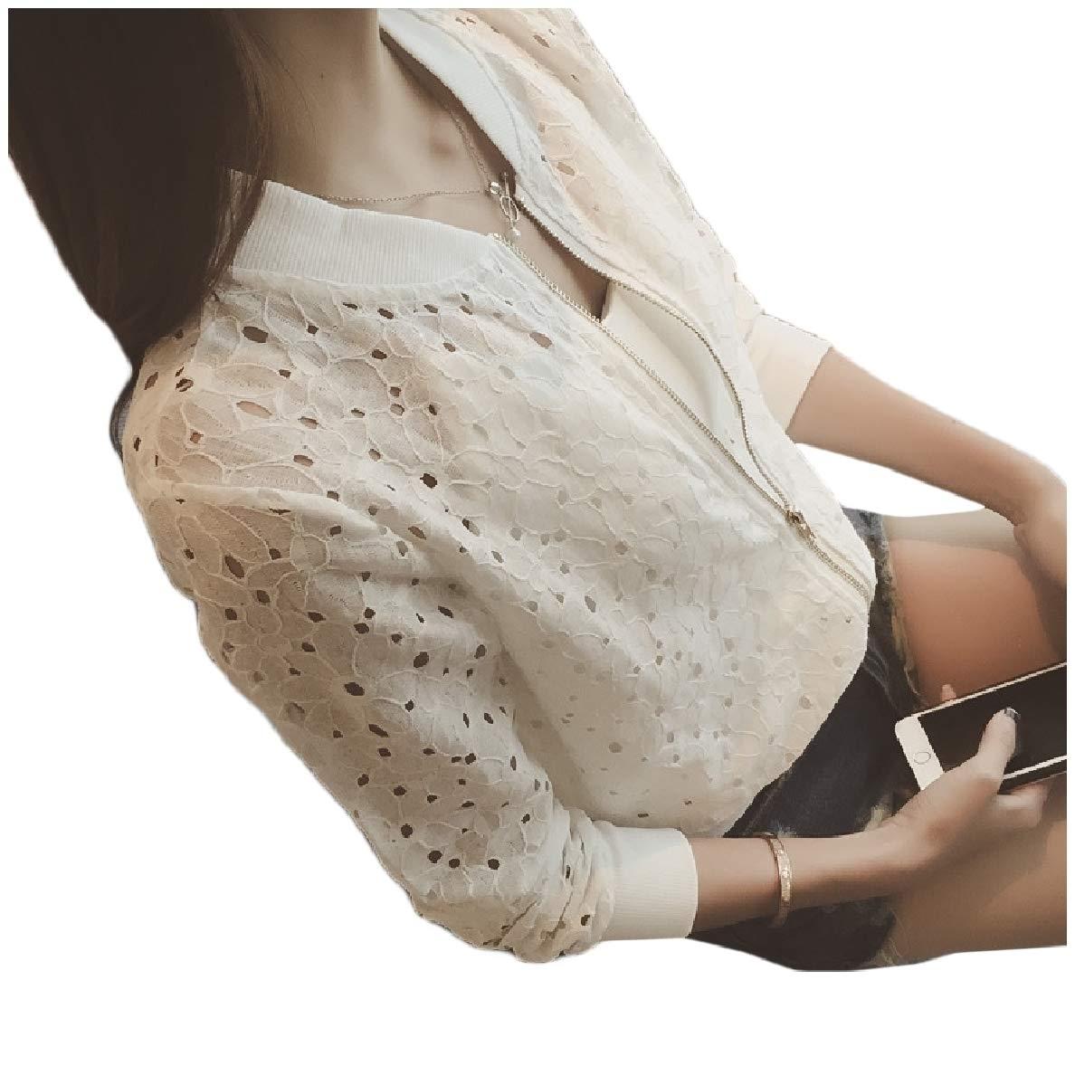 willwinWomen WillingStart Womens Hollow Out Long-Sleeve Zips Lounge Stand Collar Outwear Jacket White S