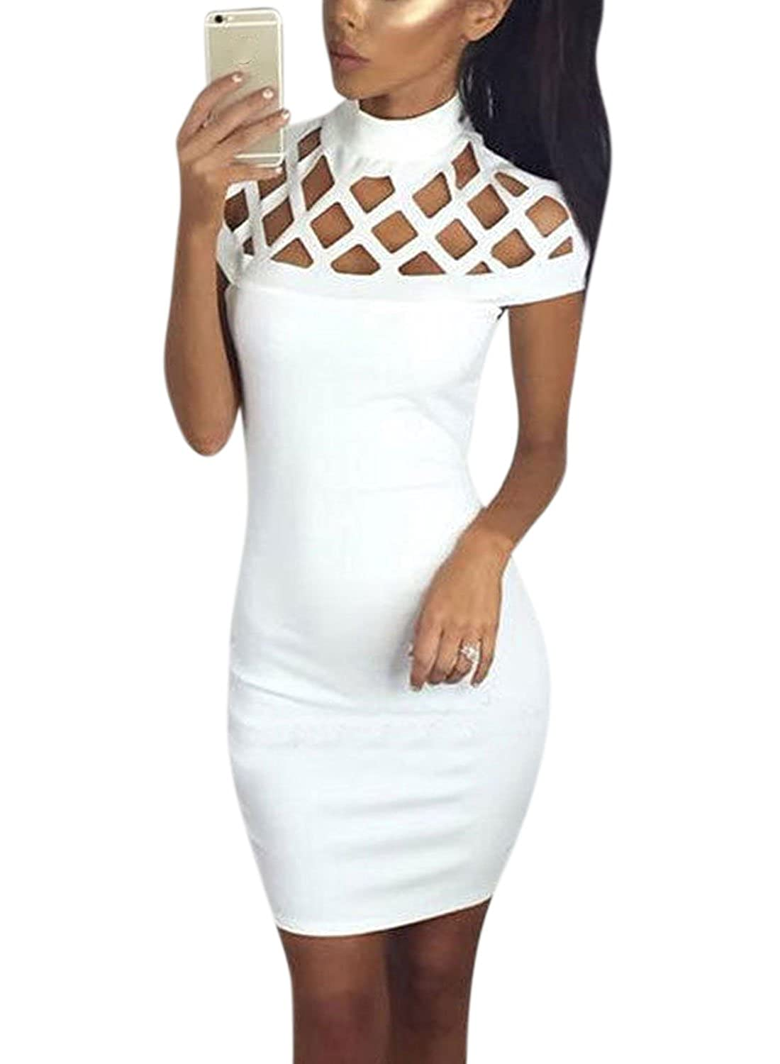 Nlife Women Casual Short Sleeve Hollow Out Bandage Bodycon Mini Dress