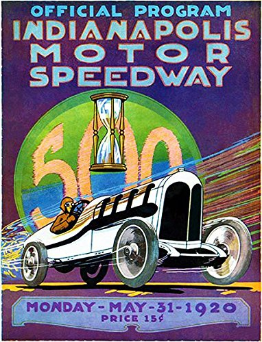 Vintage Motor Racing (1920 Indy 500 - Indianapolis Motor Speedway - Program Cover Poster)