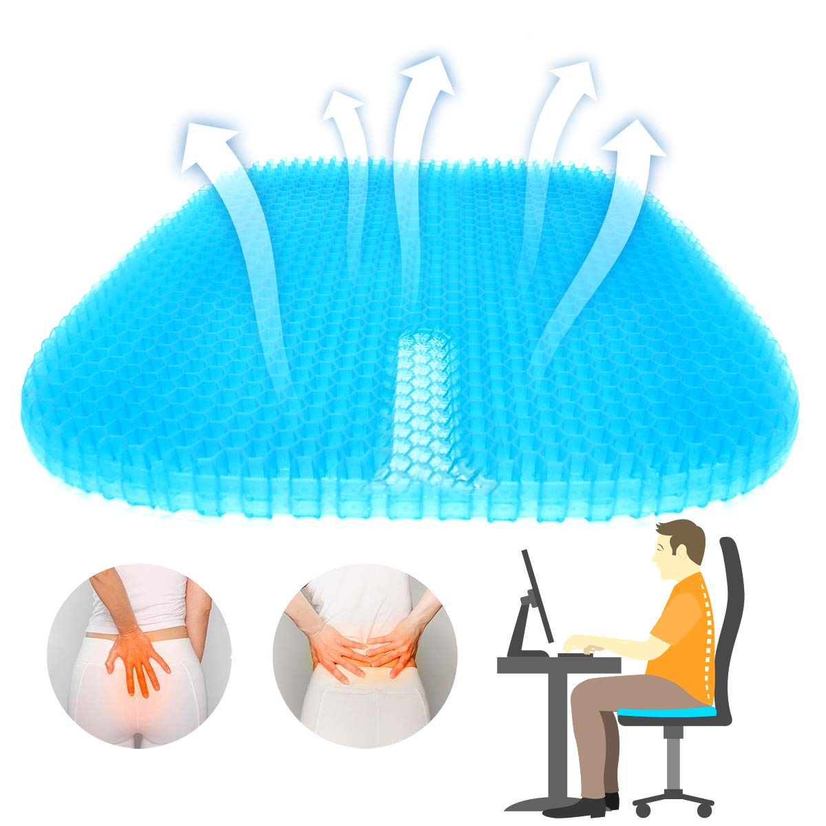 SUPTEMPO Seat Cushion, Gel Seat Cushion with Non Slip Mesh Seat Cover Large Seat Cushion for Home Cars Office Chairs Pressure Relief Tailbone Pain