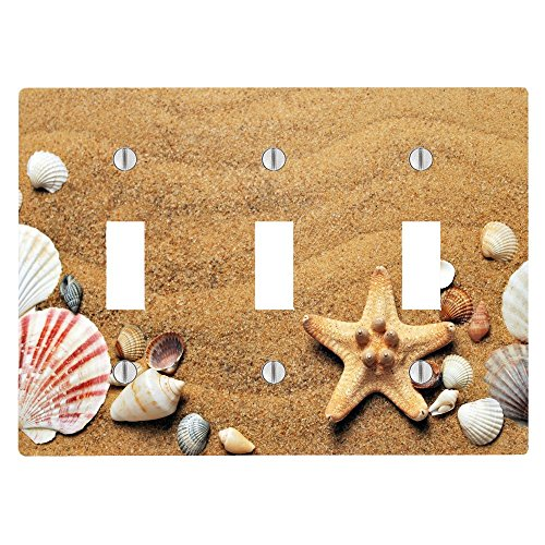 (Moonlight Printing Seashells Seashell Beach Ocean Sand on The Coast 3 Toggle Electrical Switch Wall Plate (6.56 x 4.69in))