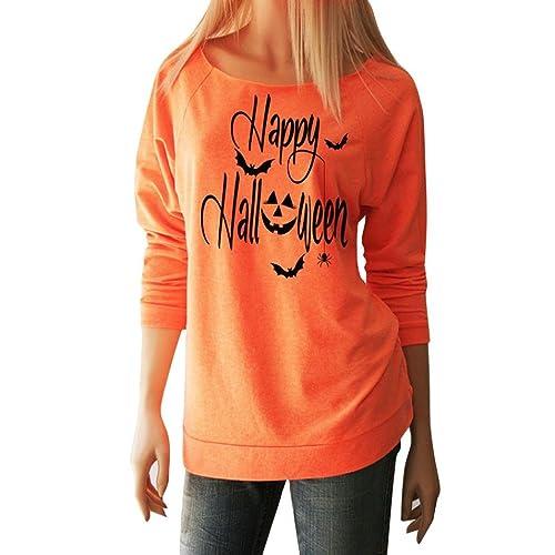 Mujer camisa de manga larga, Yannerr ocio Feliz Halloween impresa Tops blusa