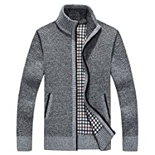 Shengweiao Men's Zip Knitted Cardigan Sweater