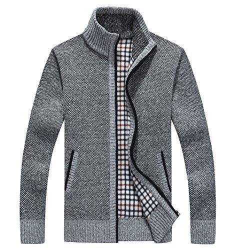 shengweiao Men's Zip Knitted Cardigan Sweater (X-Large, Light (Cashmere Zip Front)