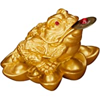 Blesiya 2x1.8x1.5 inch Resin Wealth-Attracting Feng Shui Statue, Golden Money Frog Three Legged Wealth Toad for Business or Store Opening