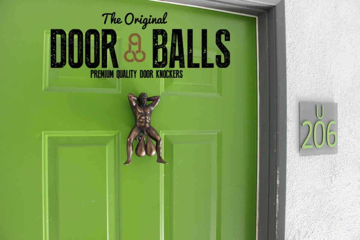 Ball sack door knocker
