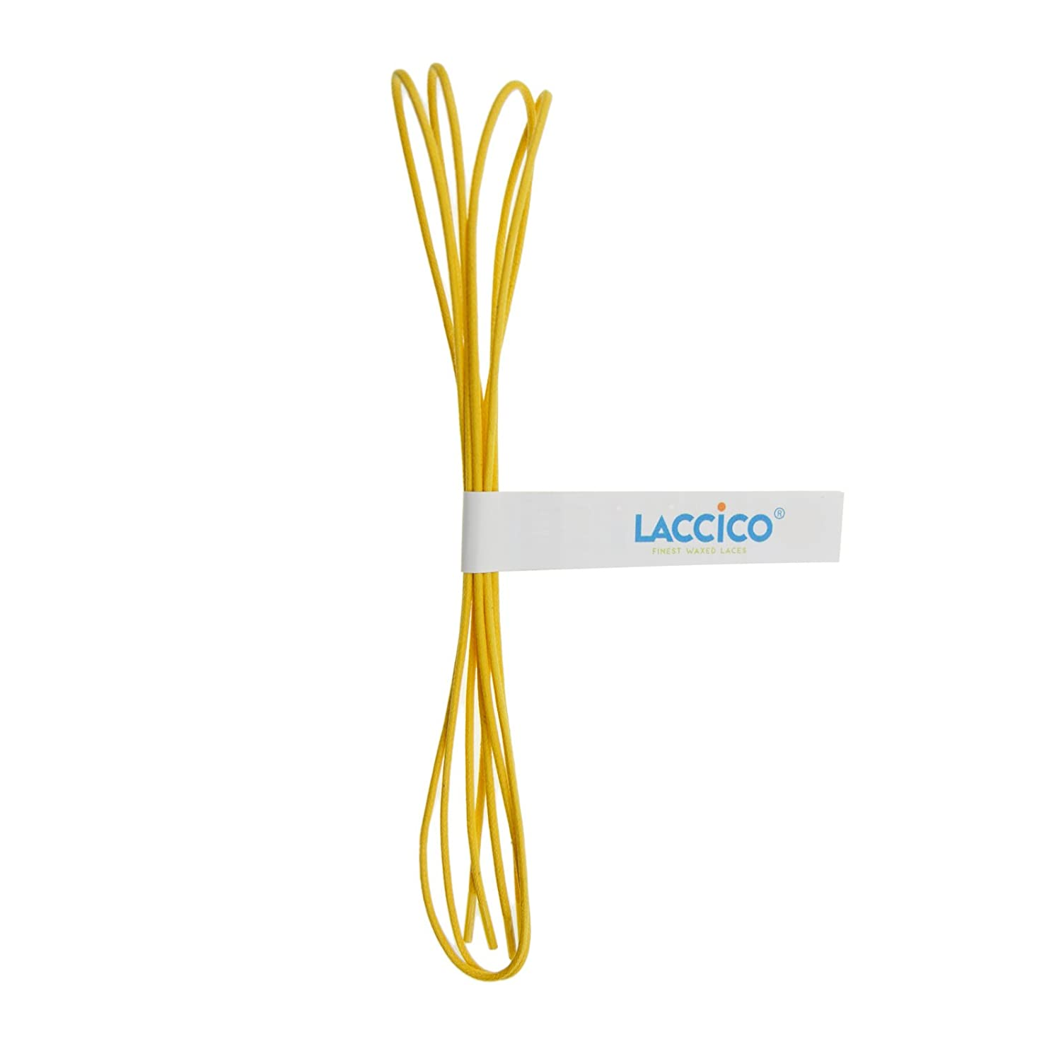 28a03e67a4aa6 LACCICO - Men's Round Waxed Shoelaces Diameter Ø 1/8' (2.0 mm) - YELLOW