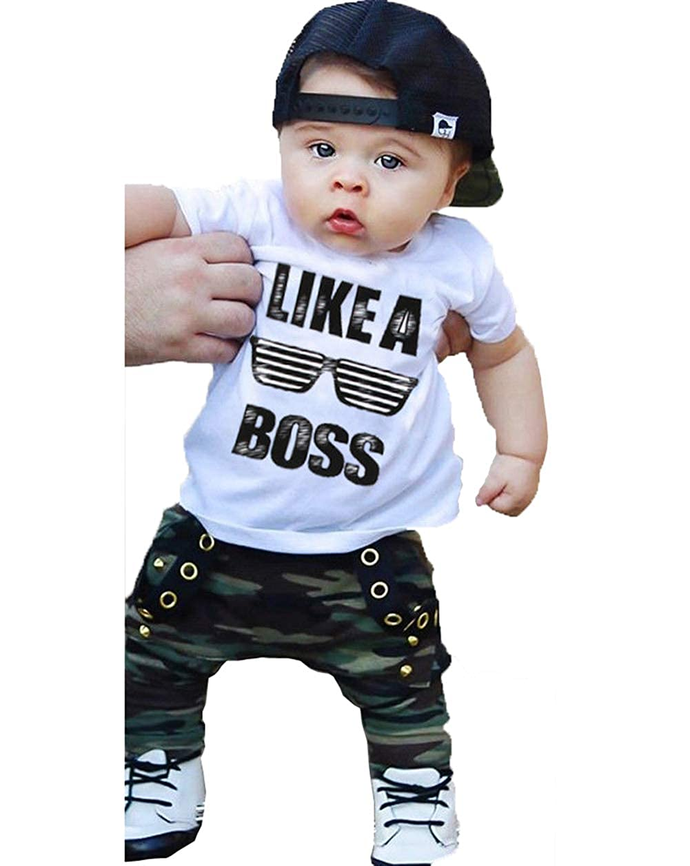 FOYUN Toddler Baby Boys Hip Hop Tops T-Shirt Camo Pants Outfits Pant Sets
