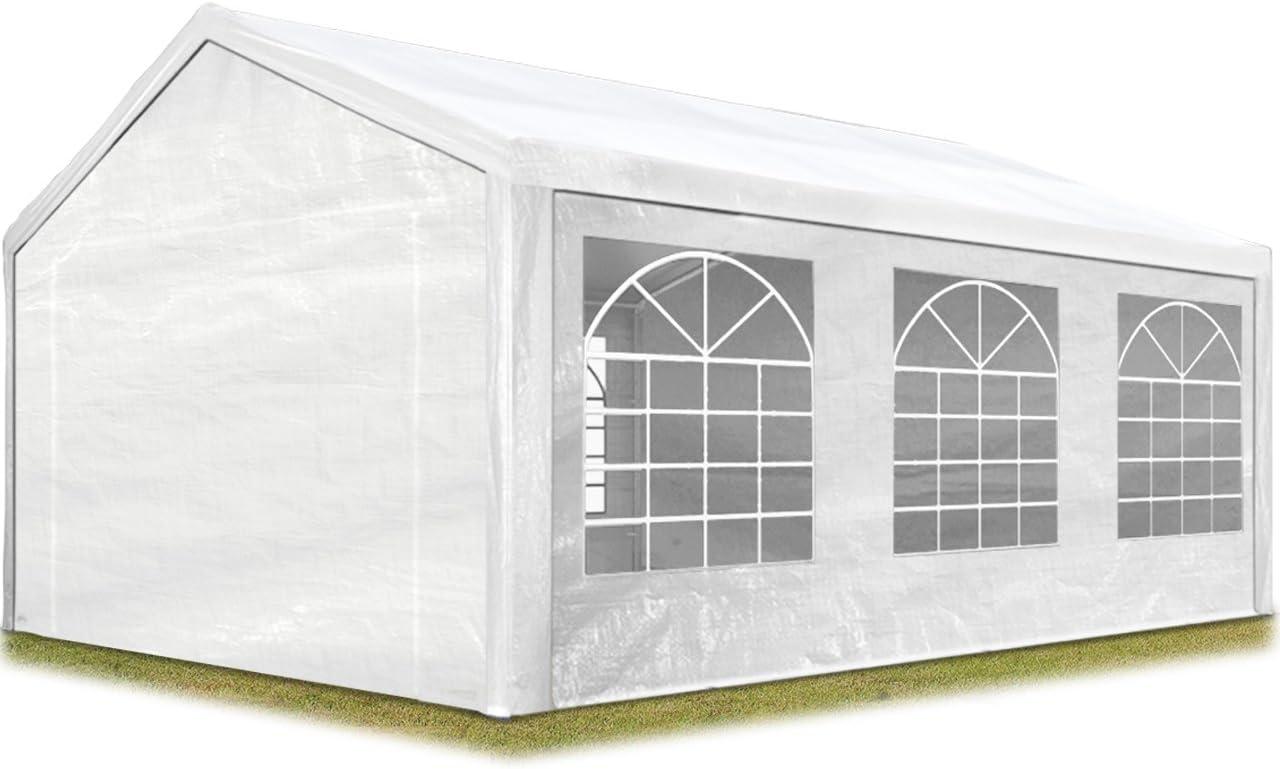 TOOLPORT Carpa para Fiestas 4x6 m en Blanco Lona PE 180 g/m² Impermeable Carpa para el jardín con protección UV